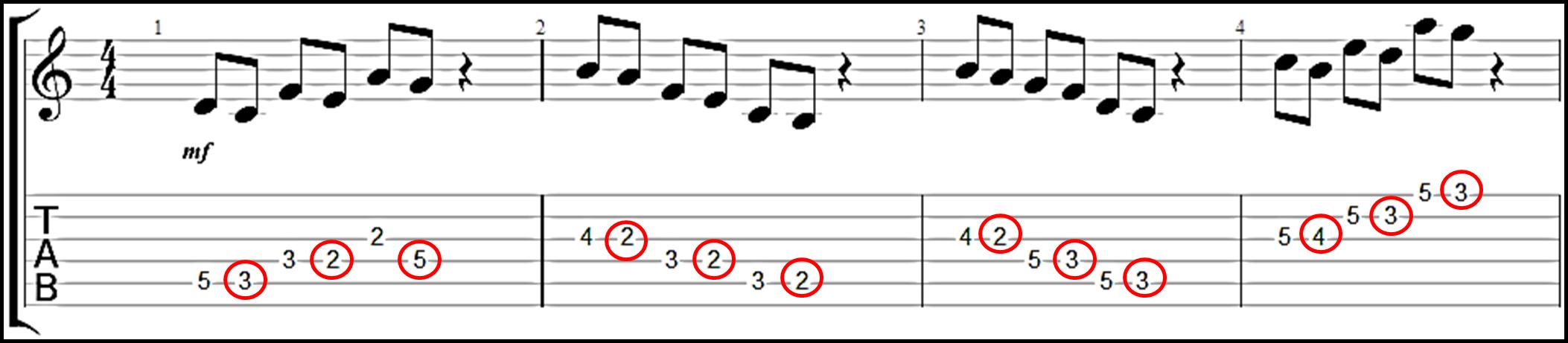 target notes diatonica descendente